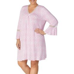 Ellen Tracy Plus Damask Print Short Tunic Nightgown