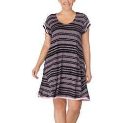 Ellen Tracy Plus Striped Flutter Nightgown