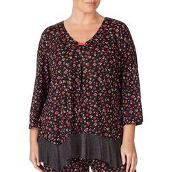 Ellen Tracy Plus Ditsy Floral Print Flutter Pajama Top