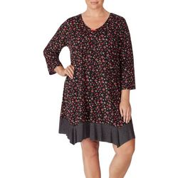 Ellen Tracy Plus Floral Print Nightgown