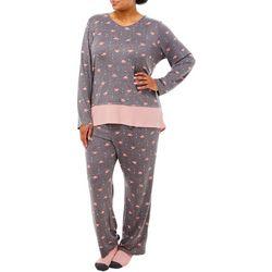 Ellen Tracy Plus V-Neck Flamingo Print Pajamas & Socks Set