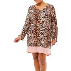Ellen Tracy Plus Leopard Print Long Sleeve Nightgown