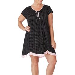 Ellen Tracy Plus Polka Dot Scalloped Hem Nightgown