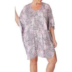 Ellen Tracy Plus Short Leopard Print Kaftan Nightgown