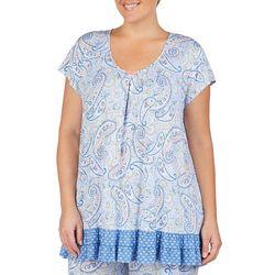 Ellen Tracy Plus Paisley Print Ruffle Pajama Top