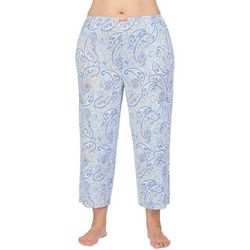 Ellen Tracy Plus Paisley Print Cropped Pajama Pants