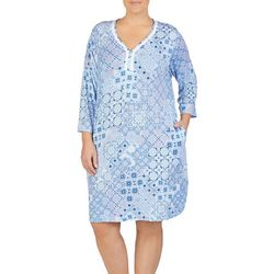 Ellen Tracy Plus Floral Tile Print Nightgown