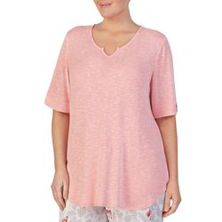 Ellen Tracy Plus Heathered Over the Elbow Pajama Top