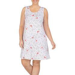 Ellen Tracy Plus Flamingo Palm Sleeveless Nightgown