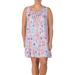 Ellen Tracy Plus Ikat Sleeveless Nightgown