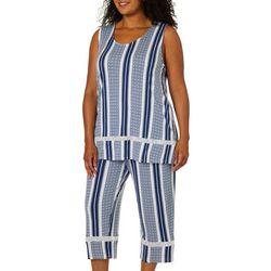 Ellen Tracy Plus Ikat Print Pajama Capris Set