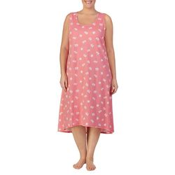 Ellen Tracy Plus Turtle Print Midi Nightgown