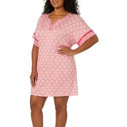 Ellen Tracy Plus Fair Isle Print Short Tunic Nightgown
