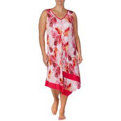 Ellen Tracy Plus Palm Print Handerchief Hem Midi Nightgown