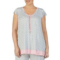 Ellen Tracy Plus Medallion Print Flutter Pajama Top