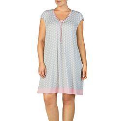 Ellen Tracy Plus Geometric Print Flutter Nightgown