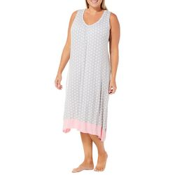 Ellen Tracy Plus Medallion Midi Sharkbite Nightgown