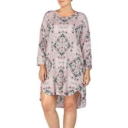 Ellen Tracy Plus Damask Print T-Shirt Nightgown