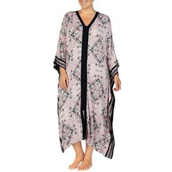 Ellen Tracy Plus Damask Long Zip-Up Kaftan