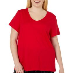 Hue Plus Tango Solid V-Neck Short Sleeve Pajama Top