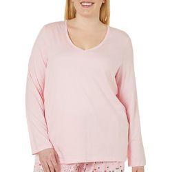 Hue Plus Solid V-Neck Long Sleeve Pajama Top