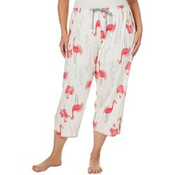 Hue Plus Flamingo Print Capri Pajama Pants