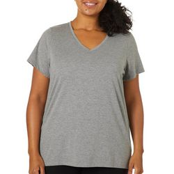 Plus Heathered V-Neck Short Sleeve Pajama Top