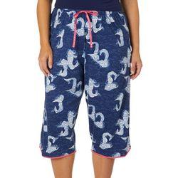 Hue Plus Mermaid Print Capri Pajama Pants