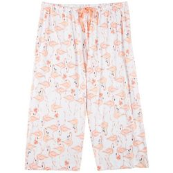 Plus Flamingo Print Capri Pajama Pants