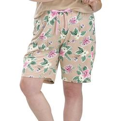 Plus Blossom Print Pajama Bermuda Shorts
