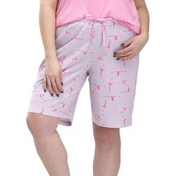 Hue Plus Flamingo Print Pajama Bermuda Shorts