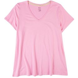 Hue Plus Solid Short Sleeve Pajama Top