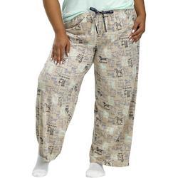 Plus Doggie Print Drawstring Pajama Pants