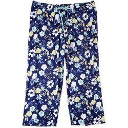 Hue Plus Floral Print Drawstring Pajama Capris