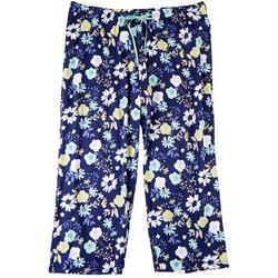 Plus Floral Print Drawstring Pajama Capris