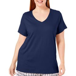 Hue Plus Deep Solid V-Neck Pajama Top
