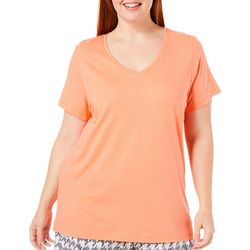 Hue Plus Solid V-Neck Short Sleeve Pajama Top