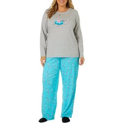 Hue Plus Ice Skating Flamingo Folded Pajama Set