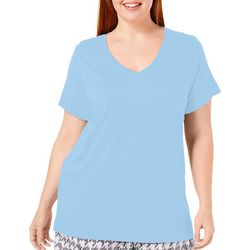 Hue Plus Replenish Solid Short Sleeve V-Neck Pajama Top
