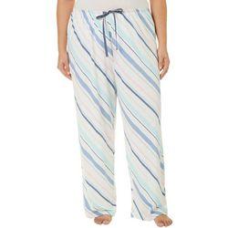 Hue Plus Striped Print Long Pajama Pants