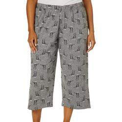 Plus Kitty Print Capri Pajama Bottoms