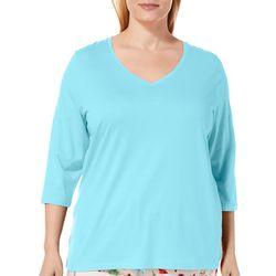 Hue Plus Solid V-Neck Quarter Sleeve Pajama Top