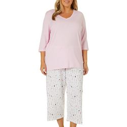 Hue Plus Cocktail Print Capri Pajama Pants