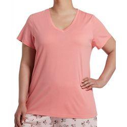 Hue Plus Essential Solid  Short Sleeve V-Neck Pajama Top