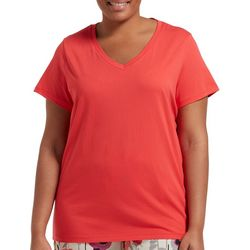 Hue Plus Essential Solid  Short Sleeve V-Neck Pajama Top