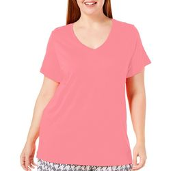 Hue Plus Solid V-Neckline Short Sleeve Pajama Top