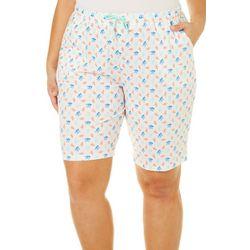 Coral Bay Plus Coral Pajama Bermuda Shorts