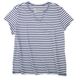 Coral Bay Womens Notcked Neck Striped Pajama Top