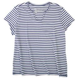 Womens Notcked Neck Striped Pajama Top