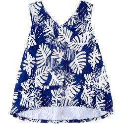 Coral Bay Plus Tropical Leaf V-Neck Pajama Top
